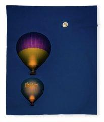 Balloons And The Moon Fleece Blanket