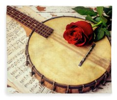 Banjo And Red Rose Fleece Blanket