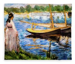 Banks Of The Seine At Argenteuil Fleece Blanket