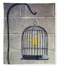 Banksy Bird Cage Detroit Fleece Blanket