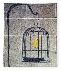 Banksy Bird Cage Detroit Fleece Blanket