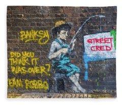 Banksy Boy Fishing Street Cred Fleece Blanket
