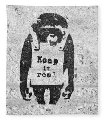 Banksy Chimp Keep It Real Fleece Blanket