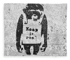 Banksy Chimp Keep It Real Fleece Blanket