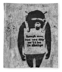 Banksy Chimp Laugh Now Graffiti Fleece Blanket
