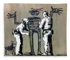 Banksy Coppers Pat Down Fleece Blanket