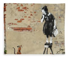 Banksy New Orleans Girl And Mouse Fleece Blanket