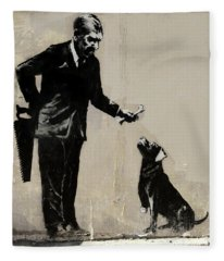Banksy Paris Man With Bone And Dog Fleece Blanket