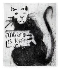 Banksy Rat The End Is Here Fleece Blanket