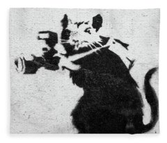 Banksy Rat With Camera Fleece Blanket