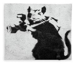 Banksy Rat With Camera Fleece Blanket
