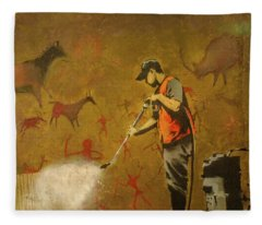 Banksy's Cave Painting Cleaner Fleece Blanket