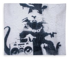 Banksy's Gansta Rat Fleece Blanket