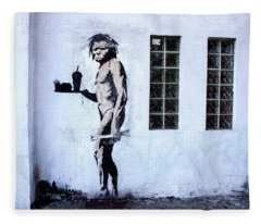 Bansky Fast Food Caveman Los Angeles Fleece Blanket