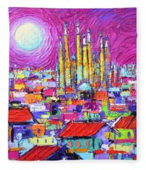 Barcelona Mystic Full Moon Over Sagrada Familia Abstract Cityscape Knife Painting Ana Maria Edulescu Fleece Blanket