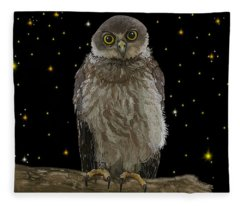 Barking Owl At Night 1 Fleece Blanket