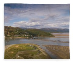 Barmouth And The Mawddach Estuary Aerial Panorama Fleece Blanket