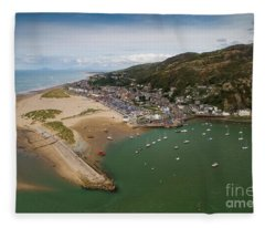 Barmouth Wales From The Air Fleece Blanket