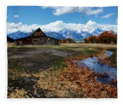 Barn On Mormon Row Fleece Blanket