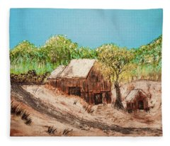 Barn On The Hill Fleece Blanket