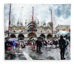 Basilica Of Saint Mark In Venice With Watercolor Look Fleece Blanket