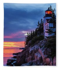 Bass Harbor Head Lighthouse At Twilight Fleece Blanket