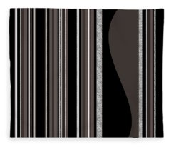 Bass Note - Random Stripes - Black And White Fleece Blanket