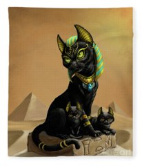 Bastet Egyptian God Fleece Blanket