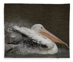 Bathing Pelican Fleece Blanket