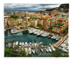 Bay Of Monte Carlo Monaco Fleece Blanket