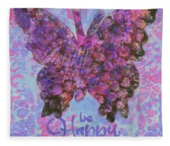 Be Happy 2 Butterfly Fleece Blanket
