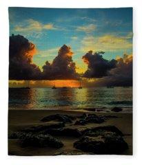 Beach At Sunset 2 Fleece Blanket