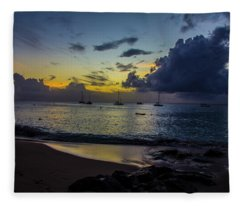 Beach At Sunset 3 Fleece Blanket