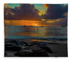 Beach At Sunset Fleece Blanket