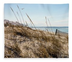 Beach Fence Cape Cod Fleece Blanket