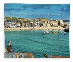 Beach From Across Bay St. Ives, Cornwall, England Fleece Blanket