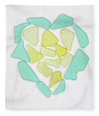 Beach Glass Heart Art Fleece Blanket