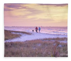 Sunrise Stroll On The Beach Fleece Blanket