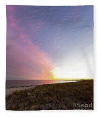 Beach Sunset West Dennis Cape Cod Fleece Blanket