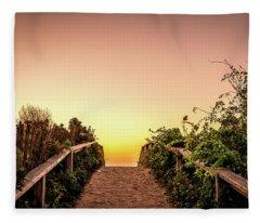 Path Over The Dunes At Sunrise. Fleece Blanket