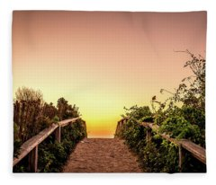 Path Over The Dunes At Sunrise. Fleece Blanket