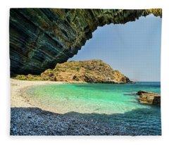 Almiro Beach With Cave Fleece Blanket