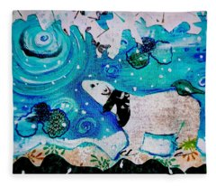 Bear And Moon Fleece Blanket