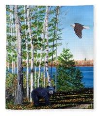 Little Bear And Eagle Wing Fleece Blanket