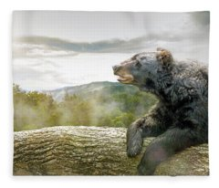 Bear In Tree At Smoky Mountains Park Fleece Blanket