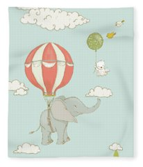 Fleece Blanket featuring the painting Floating Elephant And Bear Whimsical Animals by Matthias Hauser