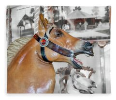 Bear Mountain Carousel - Fjord Horse Fleece Blanket
