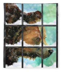 Bear Outside My Window Fleece Blanket