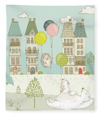 Fleece Blanket featuring the painting Bears And Mice Outside The City Cute Whimsical Kids Art by Matthias Hauser