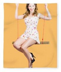 Beautiful Fifties Pin Up Girl Smiling On Swing Fleece Blanket